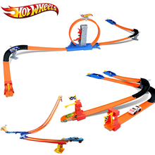 Hot Wheels Racing Car 3 IN 1 Set Easy Style High Speed Competition Car Hotwheels Track Toy Children Day Gift For Kid Model BGJ08(China)