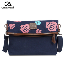 Canvasartisan brand new flower printing women messenger bag canvas fabric elegant crossbody bag female casual shoulder bags