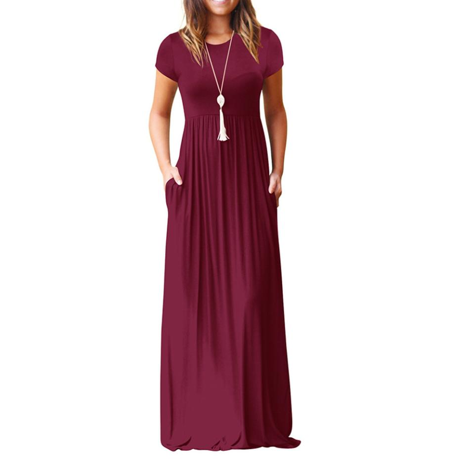 Hot Sale Floor Length Dress Women O Neck Casual Pockets Short Sleeve Loose Party Dress Vestido Longo De Festa 27