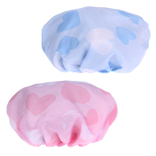 2pcs/set Double Comfort Shower Cap Pink and Blue Lady Bathing Cap Bathroom Products Shower Caps E5M1(China)