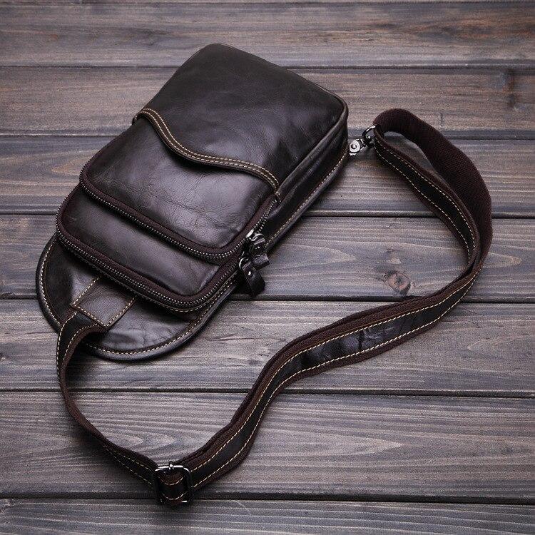 High Quality 100% Genuine Leather Men Chest Bags Male Sling Messenger Shoulder Bag With Inside Buckle Cover Pocket Retro packs<br><br>Aliexpress