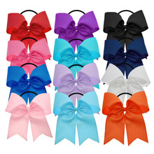 12PCS 6 Inch Women Large Grosgrain Ribbon Cheer Bows Elastic Tie Teens Ponytail Holders Juniors Hair Accessories Hair Band Bows(China)