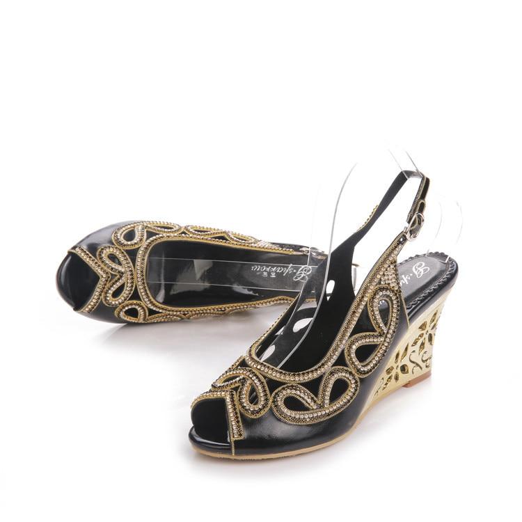 2017 Summer New Diamond Fashion Womens Black Peep Toe Wedges Bridal Sandals Wedding Shoes High Heels Cause Footwear-6