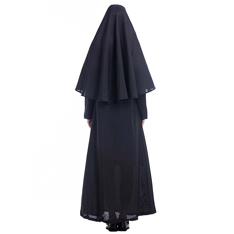 The Nun Costume Cosplay Adult Long Black Scary Nuns Ghost Clothes Uniform Horror Halloween Party Costume DropShipping4