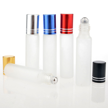 100Pieces/Lot 10ML Travel Frosting Glass Roll on Perfume Bottle For Essential Oils Empty Parfum Containers With Steel Beads(China)
