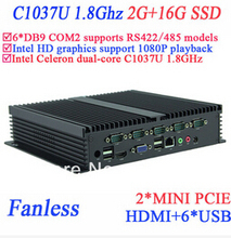 Windows embeded industrial pc with 6 COM HDMI 2 Mini PCI-E Intel Celeron C1037U 1.8Ghz 2G RAM 16G SSD(China)