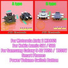 50PCS Volume Switch Power Switch Button For Samsung Galaxy S 4G T959 T959V Motorola Atrix 2 MB865 Nokia Lumia 521 520