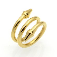 New Arrived Top Quality 3 Rows Layered Rings Titanium Steel Conical Arrows Women Ring Fashion Brand Love Jewelry Cone Nail Rings(China)