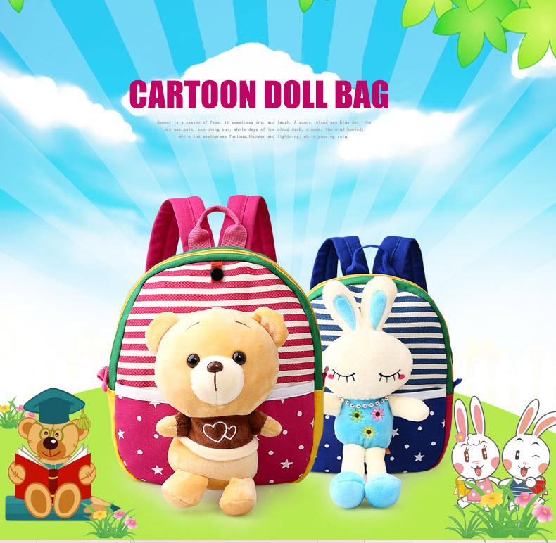 Korean Style Children Toddler Cartoon Stuffed Plush Backpacks baby girls boys cute toys schoolbag backpack (1)