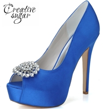 Creativesugar open toe woman wedding party bridal pumps crystal buckle 5'' heel platform royal blue white evening dress shoes