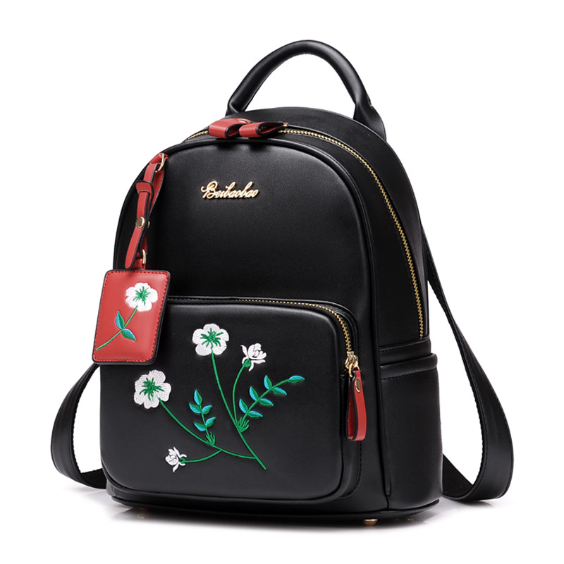 Embroidered Flowers Backpack Women Sweet Shoulder Bag High Quality Leather School Bags for Teenager Girls Campus Travel Backpack<br>