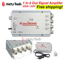 Signal amplifier for cable tv in 1 out 4 Way, CATV Cable TV amplificador, 200V, US / EU / AU / UK adapter, Broadcast Equipment(China)