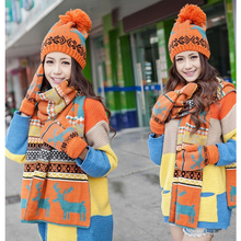 2017 Winter Women Knit Warm Christmas Deer Hat Scarf Set Baggy Beret Wrap Neckwear Lady Beanie Cap Fashion Patchwork Colorful