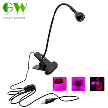 LED Grow Light with 360 Degrees Flexible Clip USB Power Supply Desktop LED Plant Growth Light.