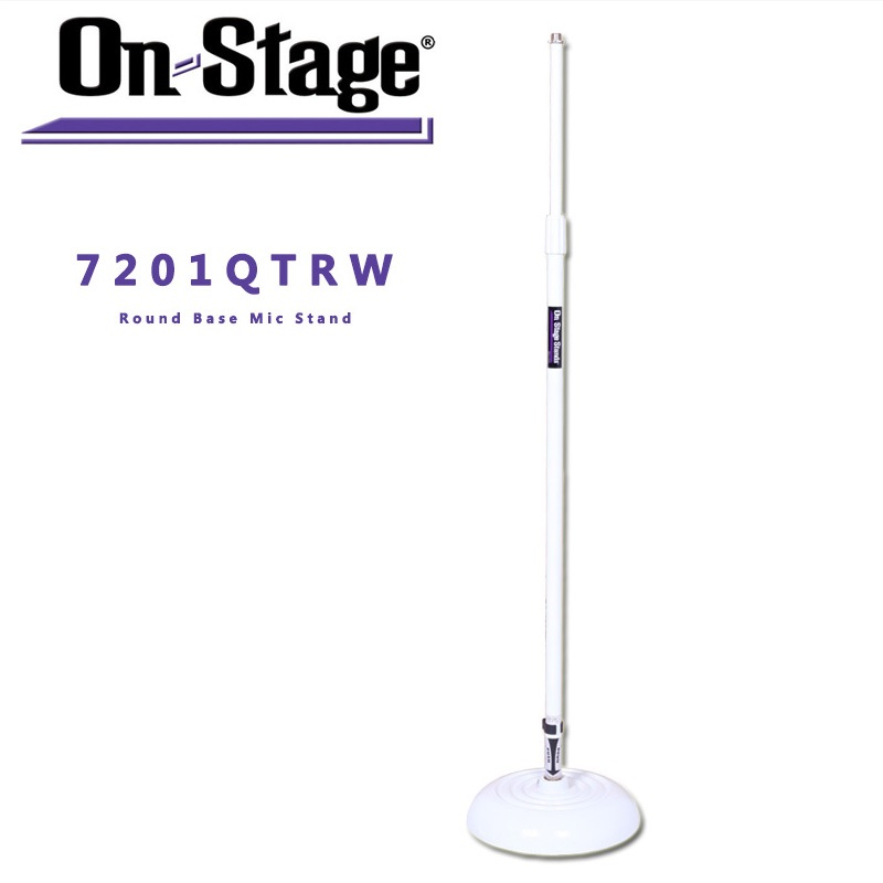 On-Stage On Stage MS7201QTR Round Base Microphone Stand, White<br>