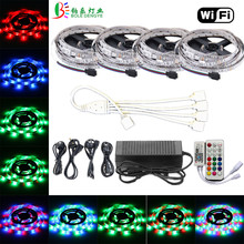 WiFi RGB LED Light 5m 10m 15m 20m LED Strip 12V 60leds/m Flexible Diode Tape Colorful Rope Lamp For Home Decoration With Adapter(China)