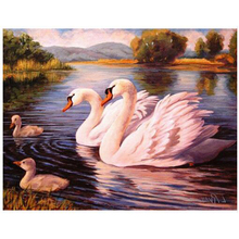 NEW 100% Full Square Drill Diamond Embroidery Swans Family Look Picture 3D Diamond Painting cross-stitch Mosaic kits Wall HL404