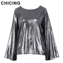 CHICING Women Vintage Glitter Metallic Flare Sleeve Pullovers Blouse 2017 Fashion Bling Bling Party Club Wear Top femme A1612026(China)