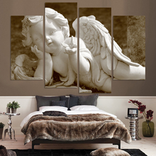 Modular Wall Paintings 4P Antique Angel Oil Painting on Canvas Pictures For Living Room No Frame Large Cuadros Decoracion Poster(China)