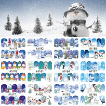 New 12 Sheets XMAS Nail Art Water Transfer Sticker Full Cover Decals Winter Merry Christmas Design Stickers Wrap Tips Decoration