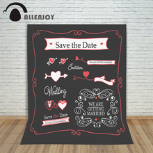 Allenjoy photography background Black DIY custom information wedding love hearts photocall valentines photography backdrop vinyl