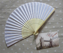 (80pcs/lot)FREE SHIPPING+Personalized Hand-made Bamboo Fan With Silk Fan Cloth Customized Wedding Favors