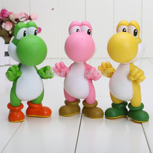 Super Mario Bros Yoshi Figure Action Yellow PINK Red Green Blue Super Mario 20pcs 5 inch 5colors PVC(China)