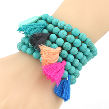 Girl Lab HowliteBeads Bracelet Tassel Charm Bangle Jewelry Simple Fashion Hinges Best Friends Multicolor To Choose 2227