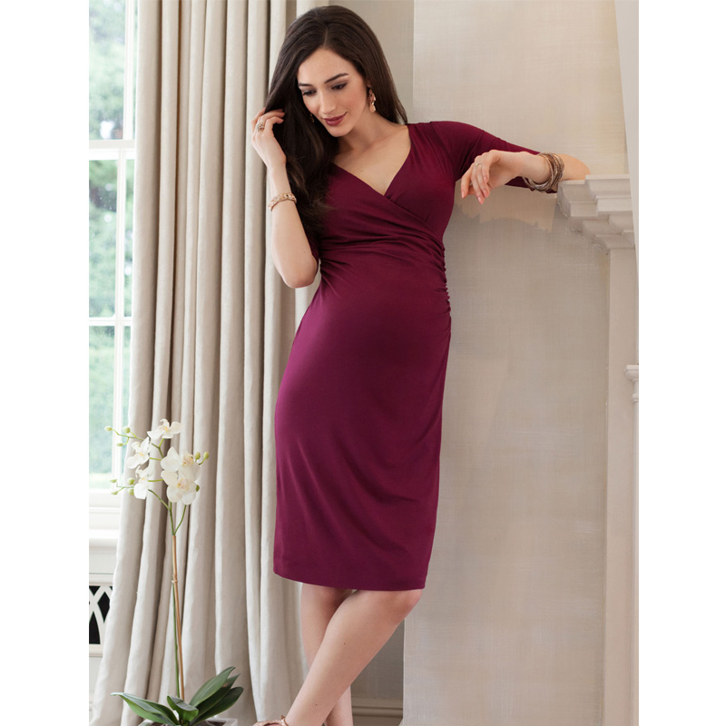 HI BLOOM Easter Gift Spring Autumn Maternity Clothing V-Neck Maternity Dress Tencel+Lycra Pregnancy Clothes for Pregnant Women<br>