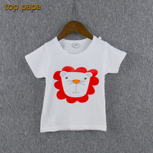 Top Papa White Children Simple Tshirt Kid Summer Sport Soft Cheap Discount Lion Animal Design Red 100% Cotton Top Clothes Wear