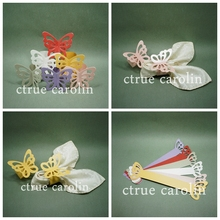 50pcs/lot decoupage paper Butterfly Napkin Rings Wedding Holder Bridal Shower Favor wedding decoration mariage Table Decoration
