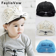 Cute Baby Cartoon Cat Hat Kids Baseball Cap Palm Newborn Infant Boy Girl Beanies Soft Cotton Caps Infant Visors Sun Hat(China)