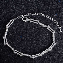 SHUANGR Brand New Elegant Bracelet with Zircon Charm Bracelet Female Party Jewelry Silver/Gold-Color Hand Accessories