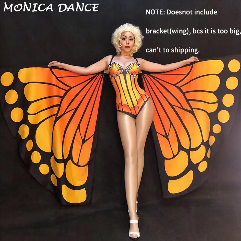 Women Sexy Stage Butterfly Series Bodysuit Big Pearls Nightclub Party Dancer Stage Wear Performance Costumes (Without Bracket)