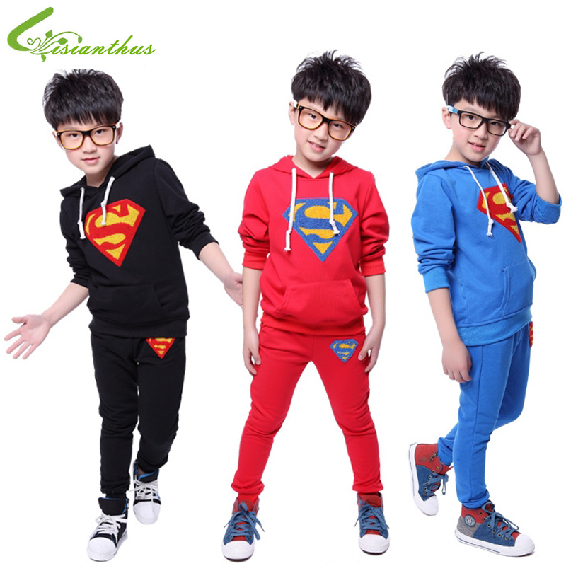 Children Hoodies Sets Boys Superman Clothing Long Sleeve Jacket Pants Cartoon Clothes Spring Autumn Outwear Free Drop Shipping<br><br>Aliexpress