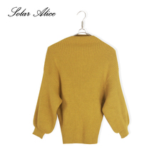 SOLAR ALICE Free Shipping Autumn Winter Solid Knitted Women Sweaters Pullovers Turtleneck Full Lantern Sleeve 5XL Female Jumpers(China)