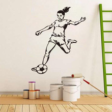 Girl Football Player Sticker Sports Soccer Decal Girl Kids Room Posters Vinyl Wall Decals(China)