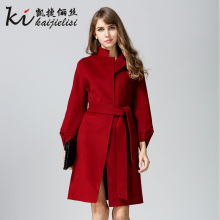 2017 New Spring Fashion Women Long Wool Coat Belt Handmade Lady Double Side Wool Jack Wide-waisted Female Outerwea Red