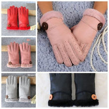 Women Winter Warm Cotton Fur Wool Sheepskin Gloves Outdoor Leather Full Finger Mittens Red Black Pink(China)