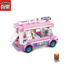 ENLIGHTEN Girl Pink Ice Cream Car Blocks Toys Assembled Model Building Kits Car Blocks Toys Small Particle Educational Toys 1112