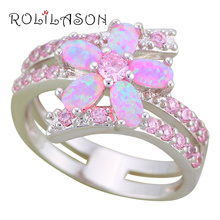ROLILASON Luxury Sparkling Flower Style Pink Fire Opal 925 Silver Zircon Fashion Jewelry Ring USA Sz #5#6#7#8#9#10 OR880