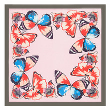 MENGLINXI 60cm*60cm 2017 Luxury Brand Spring New Style Butterfly Print Women Twill Silk Scarf Small Square Scarves Headband