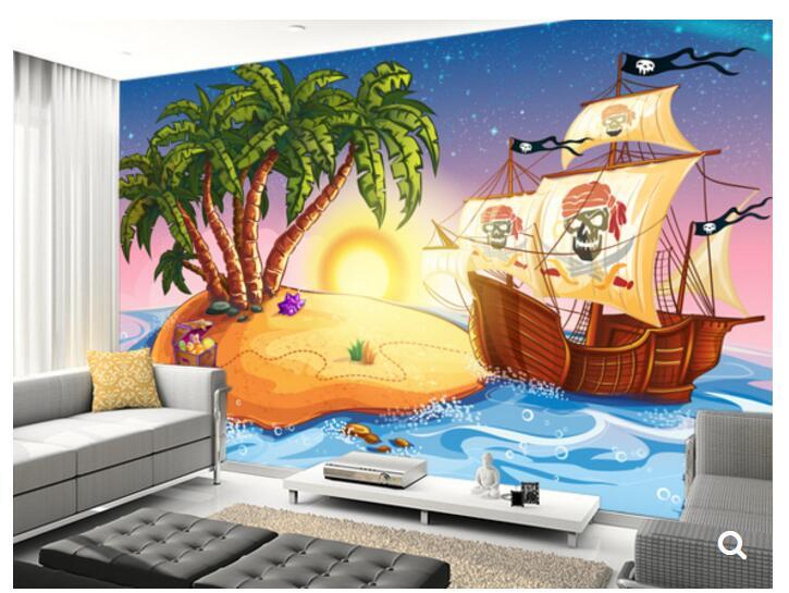 Custom papel de parede infantil,treasure island and pirate ship,3D cartoon mural for bedroom childrens room wallpaper<br>