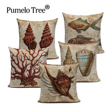 Customized Cotton Linen Marine American Shell Tropical Nautilus Cushion Pillows 45Cmx45Cm Square Bench Printed Pillow Case