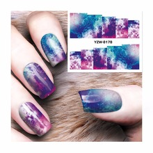 LCJ 1 Sheet 2017 Top Sell Water Transfer Sticker Nail Art Decals Nails Wraps Temporary Tattoos Watermark Nail 8178(China)