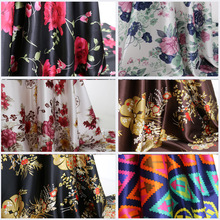 flowers satin print cloth soft polyester charmeuse vintage fabric