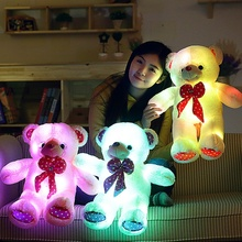 1pcs 60cm Colorful LED Flash Light Bear Doll Plush Stuffed Toys Gift For Children Christmas Gift Stuffed & Plush