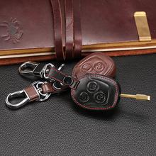 Special offer high quality Genuine Leather car key cover set protector accessories fit for Ford Focus remote 3 buttons key case