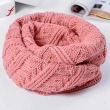 Feitong Brand Fashion 2018 Women Warm Knit Neck Circle Cowl Snood snud stole shawls Multi-purpose Scarf female vintage bandana(China)