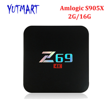 20PCS [Z69] Full HD Media Player BT 4.0 2.4G H.265 4K 2GB DDR3 16GB EMMC Quad Core Android 6.0 Amlogic S905X Z69 Smart TV Box(China)